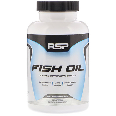RSP Nutrition Fish Oil, Extra Strength Omega, 60 Softgels