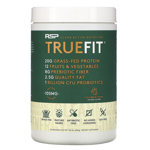 TrueFit, Grass-Fed Whey Protein Shake with Fruits & Veggies, Cold Brew Coffee, 1.85 lbs (840 g)