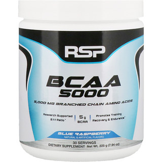 RSP Nutrition, BCAA 5000, Blue Raspberry, 5,000 mg, 7.94 oz (225 g)