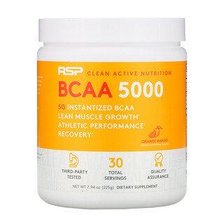RSP Nutrition, BCAA 5000, Instantized BCAAs, Orange Mango, 5,000 mg, 7.94 oz (225 g)