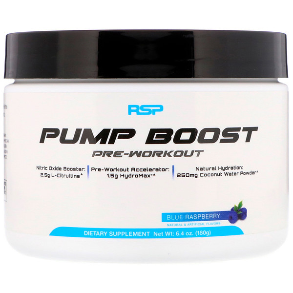 Pump Boost Pre-Workout, Blue Raspberry, 6.4 oz (180 g)