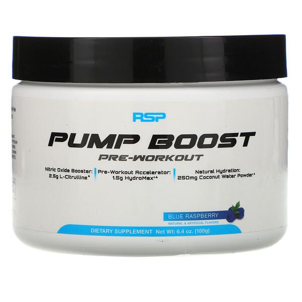 RSP Nutrition, Pump Boost Pre-Workout, Blue Raspberry, 6.4 oz (180 g)