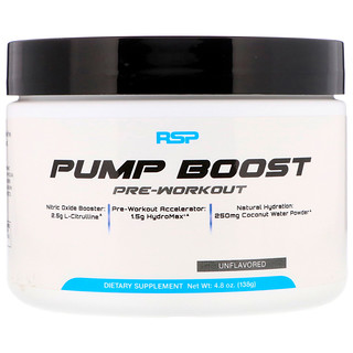 RSP Nutrition, Pump Boost Pre-Workout, Unflavored, 4.8 oz (138 g)