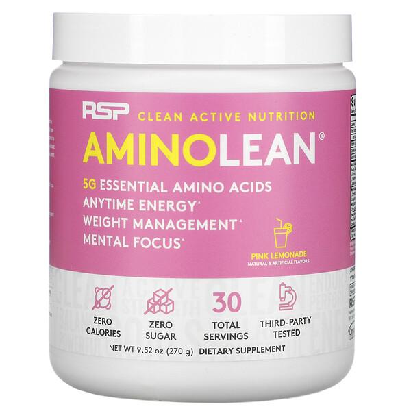 AminoLean, Essential Amino Acids + Anytime Energy, Pink Lemonade, 9.52 oz (270 g)