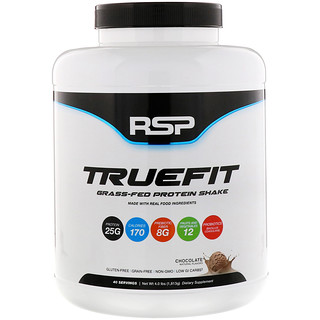 RSP Nutrition, TrueFit, Grass-Fed Protein Shake, Chocolate, 4 lbs (1813 g)