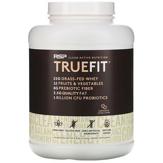 RSP Nutrition, TrueFit, Grass-Fed Whey Protein Shake with Fruits & Veggies, Chocolate, 4.23 lbs (1.92 kg)