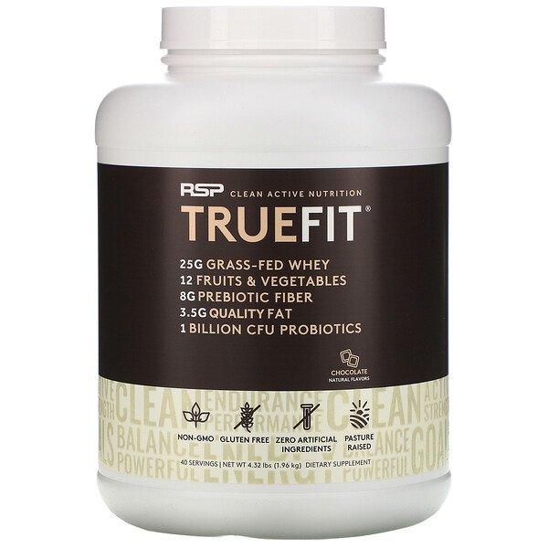 TrueFit, Grass-Fed Whey Protein Shake with Fruits & Veggies, Chocolate, 4.23 lbs (1.92 kg)
