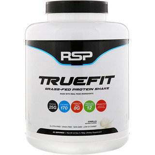 RSP Nutrition, TrueFit, Grass-Fed Protein Shake, Vanilla, 3.9 lbs (1776 g)