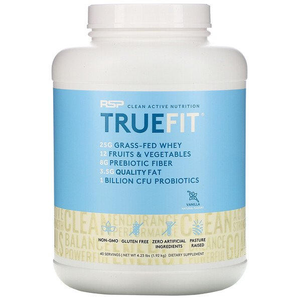 TrueFit, Grass-Fed Whey Protein Shake with Fruits & Veggies, Vanilla, 4.23 lbs (1.92 kg)