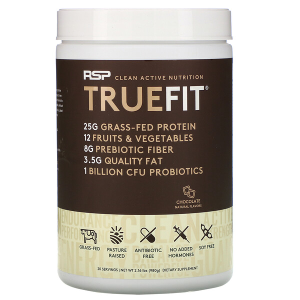 TrueFit, Grass-Fed Whey Protein Shake, Chocolate, 2 lbs (940 g)