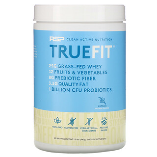 RSP Nutrition, TrueFit, Grass-Fed Whey Protein Shake with Fruits & Veggies, Vanilla, 2 lbs (940 g)