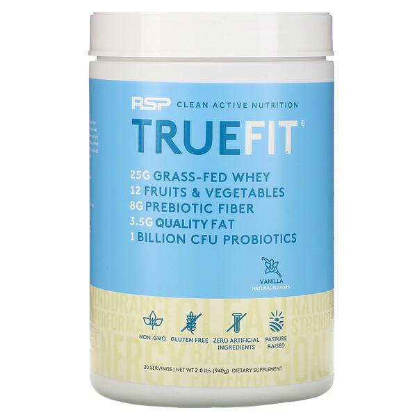 TrueFit, Grass-Fed Whey Protein, Vanilla, 2 lbs (940 g)