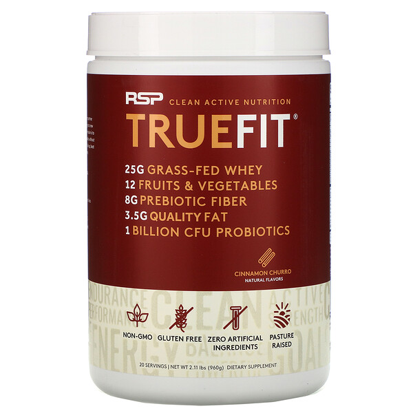 RSP Nutrition, TrueFit, Grass-Fed Whey Protein Shake with Fruits & Veggies, Cinnamon Churro, 2 lbs (940 g)