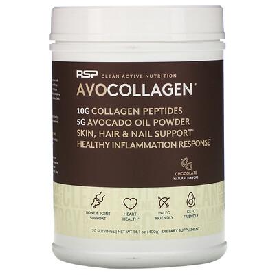 Купить RSP Nutrition AvoCollagen, пептиды коллагена и масло авокадо в виде порошка, шоколад, 400г