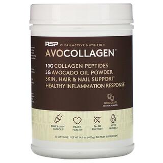 RSP Nutrition, AvoCollagen, péptidos de colágeno y aceite de aguacate en polvo, chocolate, 400 g (14,1 oz)
