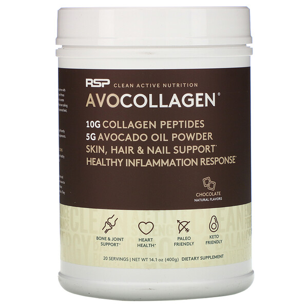 AvoCollagen, пептиды коллагена и масло авокадо в виде порошка, шоколад, 400 г