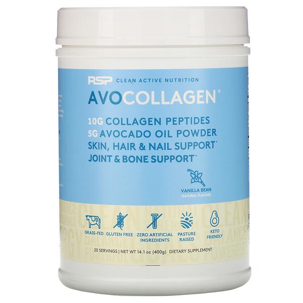 AvoCollagen, пептиды коллагена и масло авокадо в виде порошка, ваниль, 400г