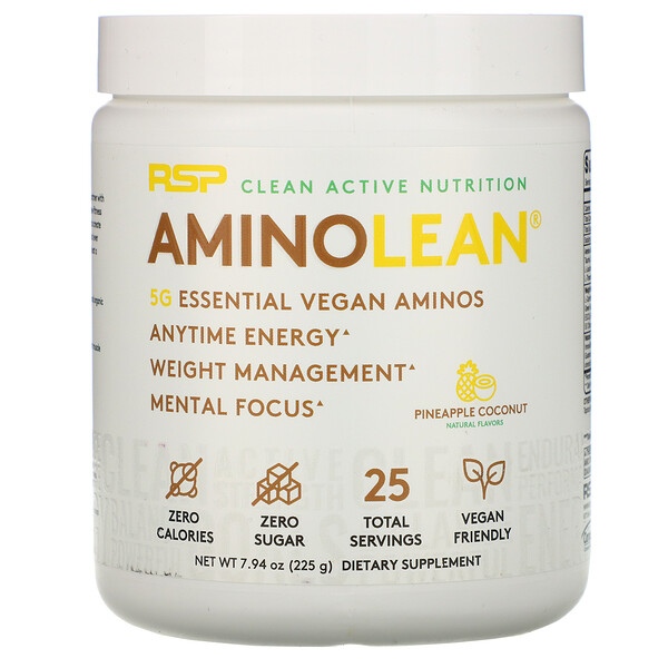 AminoLean, Essential Vegan Aminos, Pineapple Coconut, 7.94 oz (225 g)