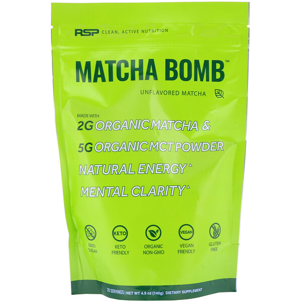 RSP Nutrition, Matcha Bomb, Unflavored Matcha, 4.9 oz (140 g)