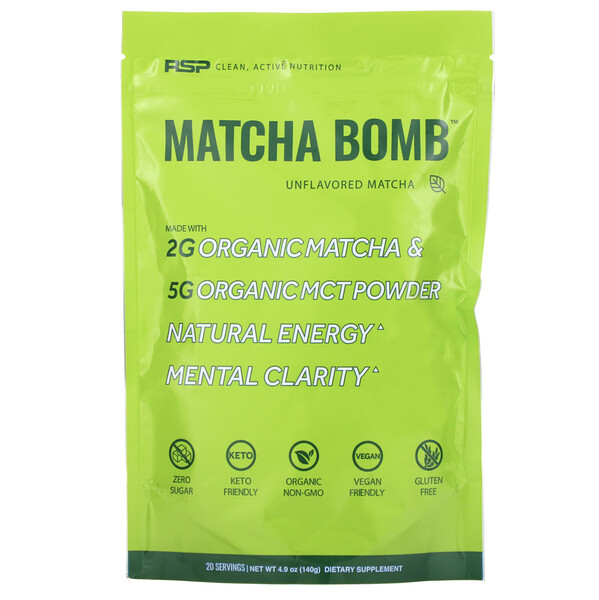 RSP Nutrition, Matcha Bomb, Unflavored Matcha, 4.9 oz (140 g) (Discontinued Item)