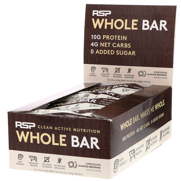 RSP Nutrition, Whole Bar, Chocolate Almond Brownie, 12 Bars, 1.76 oz (50 g) Each (Discontinued Item)