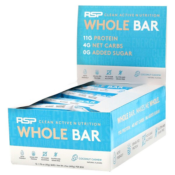 Whole Bar, Coconut Cashew, 12 Bars, 1.76 oz (50 g) Each