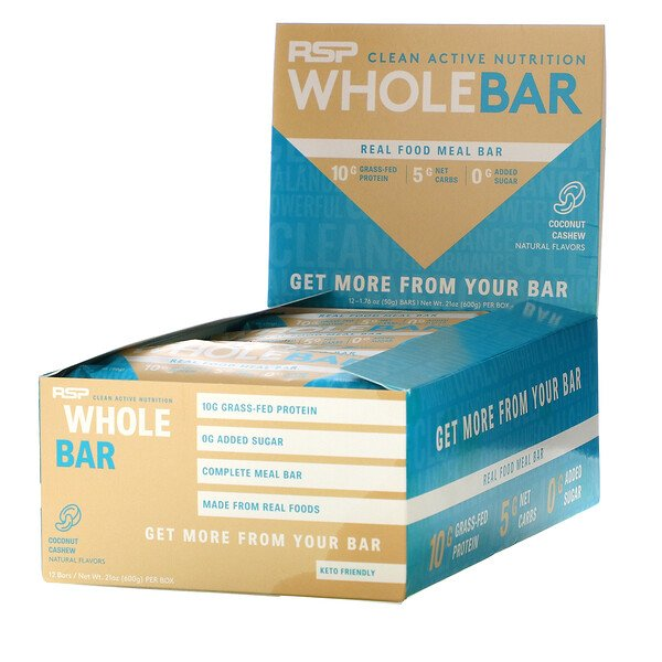 RSP Nutrition, Whole Bar, Coconut Cashew, 12 Bars, 1.76 oz (50 g) Each
