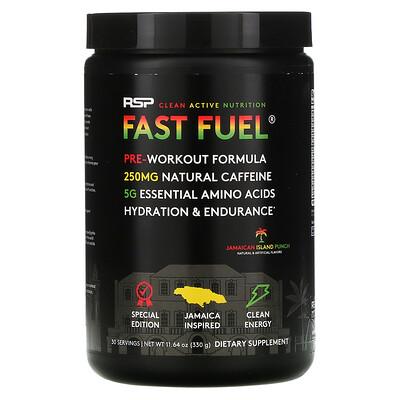 Купить RSP Nutrition Fast Fuel, Pre-Workout Formula, Hydration & Endurance, Jamaican Island Punch, 11.64 oz (330 g)