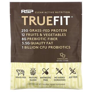 RSP Nutrition, TrueFit، مخفوق بروتين الشرش من أبقار تتغذى على الأعشاب بالفواكه والخضروات، نهكة الشيكولاتة، 1.7 أونصة (49 جم)