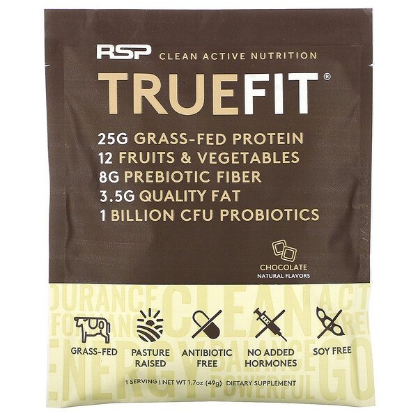 RSP Nutrition, TrueFit, Grass-Fed Whey Protein Shake, Chocolate, 1.7 oz (49 g)