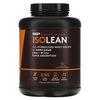 RSP Nutrition, IsoLean, Hydrolyzed Whey Isolate, EAAs & BCAAs, Chocolate, 5 lbs (2,268 g)