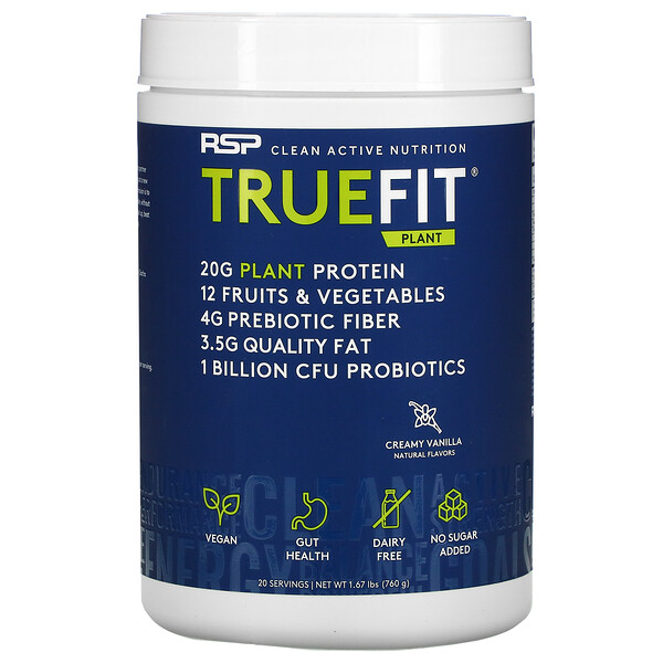 TrueFit Plant Protein Shake, Meal Replacement, Creamy Vanilla, 1.67 lb (760 g)