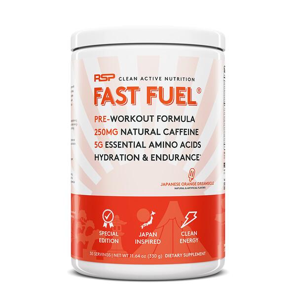 Fast Fuel(ファーストフューエル)、プレワークアウトフォーミュラ、水分補給&持久力、ミカンドリームシクル、330g(11.64オンス)