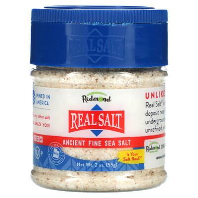 Redmond Trading Company Real Salt, Ancient Fine Sea Salt, 2 oz (55 g)