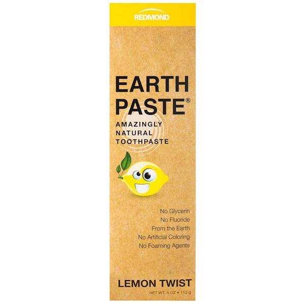 Redmond Trading Company, Earthpaste,了不起的天然牙膏,檸檬螺旋形,4盎司(113克)