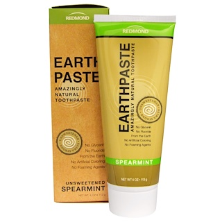 Redmond Trading Company, Earthpaste, Amazingly Natural Toothpaste, Unsweetened, Spearmint, 4 oz (113 g)