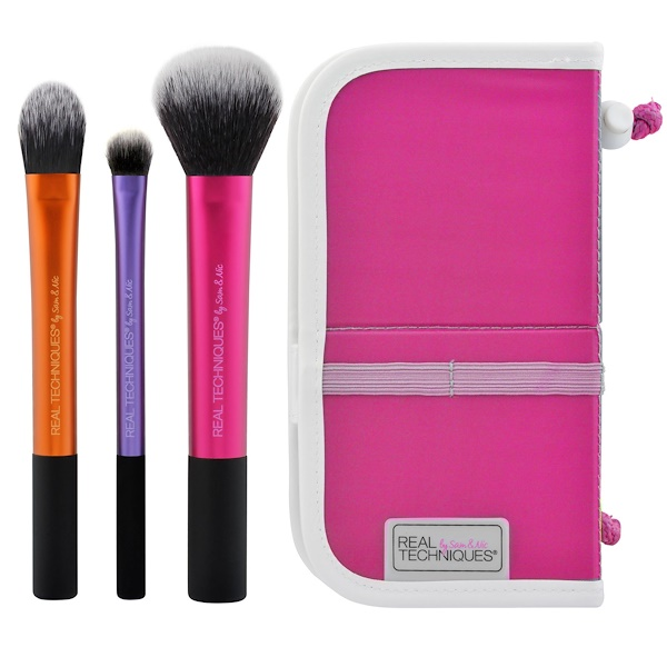 Real Techniques by Samantha Chapman, Travel Essentials, 3 Brushes + Case (Discontinued Item)
