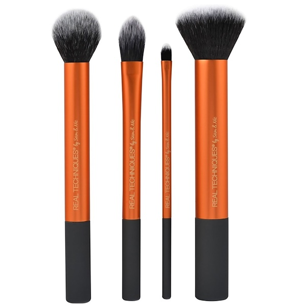 Real Techniques by Sam and Nic, Core Collection, 4 Brushes + 2 in 1 Case + Stand (Discontinued Item)
