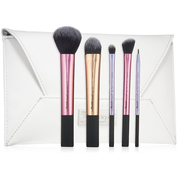 Real Techniques, Limited Edition, Deluxe Gift Set, 5 Brushes + Clutch (Discontinued Item)