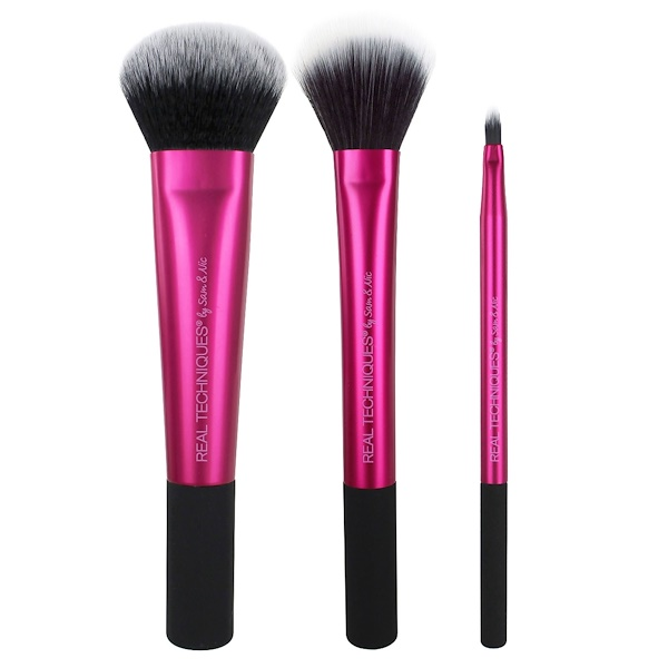 Real Techniques by Sam and Nic, Cheek And Lip Set, Limited Edition, Finish, 3 Brushes (Discontinued Item)