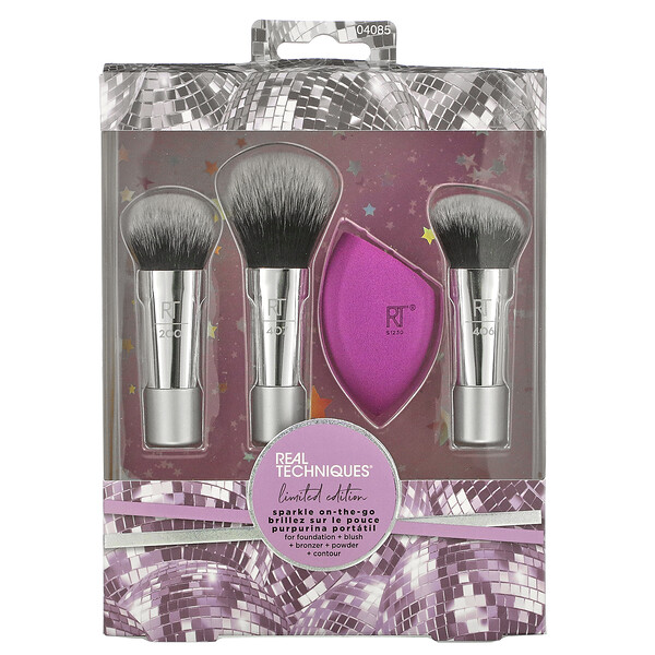 Real Techniques, Sparkle On-the-Go, Limited Edition, 4 Piece Set (Discontinued Item)