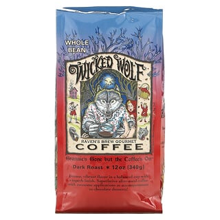 Ravens Brew Coffee, Wicked Wolf Coffee, Whole Bean, Dark Roast, 12 oz (340 g)