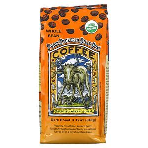 Ravens Brew Coffee, Three Peckered Billy Goat Coffee, Organic, Whole Bean, Dark Roast, 12 oz (340 g)