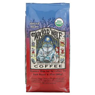 Ravens Brew Coffee, Wicked Wolf Coffee, Organic, Whole Bean, Dark Roast, 12 oz (340 g)