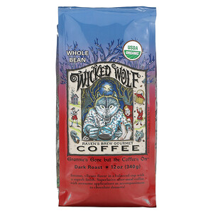 Ravens Brew Coffee, Wicked Wolf Coffee, Organic, Whole Bean, Dark Roast, 12 oz (340 g)'