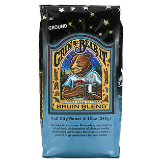 Ravens Brew Coffee, Grin & Bear It, Bruin Blend, Ground, Full City Roast, 12 oz ( 340 g)