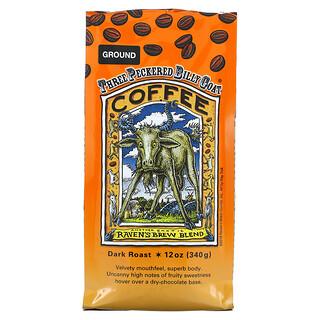 Ravens Brew Coffee, Three Peckered Billy Goat Coffee, Ground, Dark Roast, 12 oz (340 g)