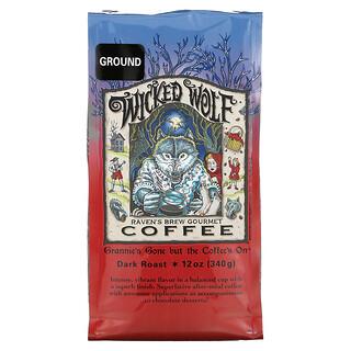 Ravens Brew Coffee, Wicked Wolf Coffee, Ground, Dark Roast, 12 oz (340 g)