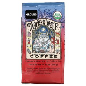 Ravens Brew Coffee, Wicked Wolf Coffee, Organic, Ground, Dark Roast, 12 oz ( 340 g)