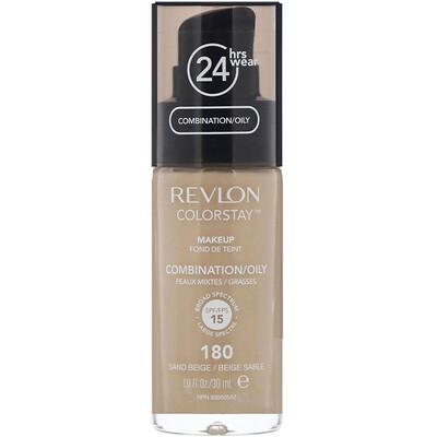 Revlon Тональная основа Colorstay Makeup для комбинированной и жирной кожи, песочный бежевый 180, 30 мл